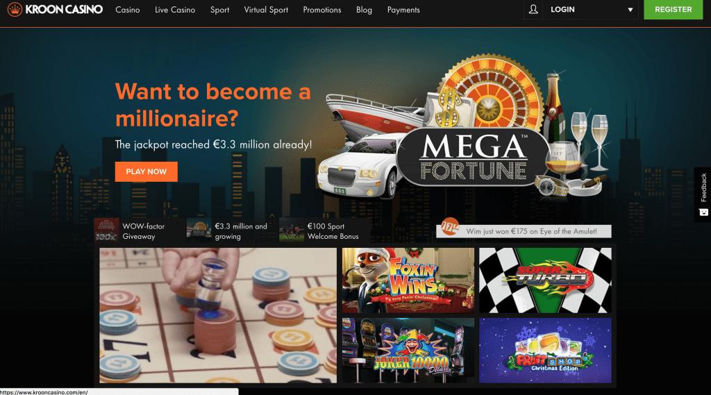 kroon casino startpagina met verschillende promoties